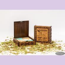 Набор оливкового мыла в подарочной деревянной шкатулке с белыми накладками